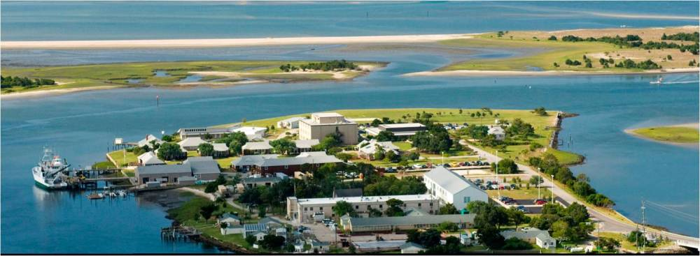 Pivers Island is home to many marine science facitilities, including the NOAA Beaufort Lab in the foreground.