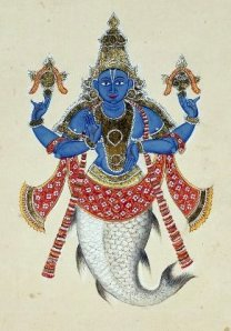 Matsya, a fish, is the first incarnation of Vishnu on Earth.