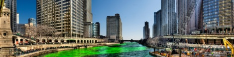 The Chicago River turns green every St. Patrick's Day.  Many Irish Americans are descentants who migrated because of the potato famine