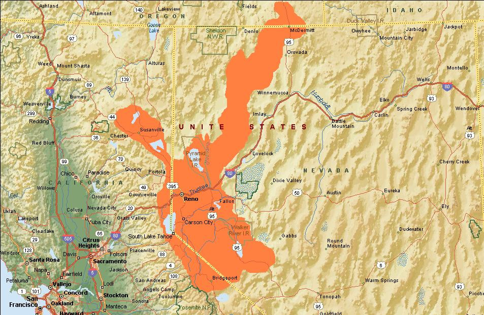 The native range of the Lahontan cutthroat.Source