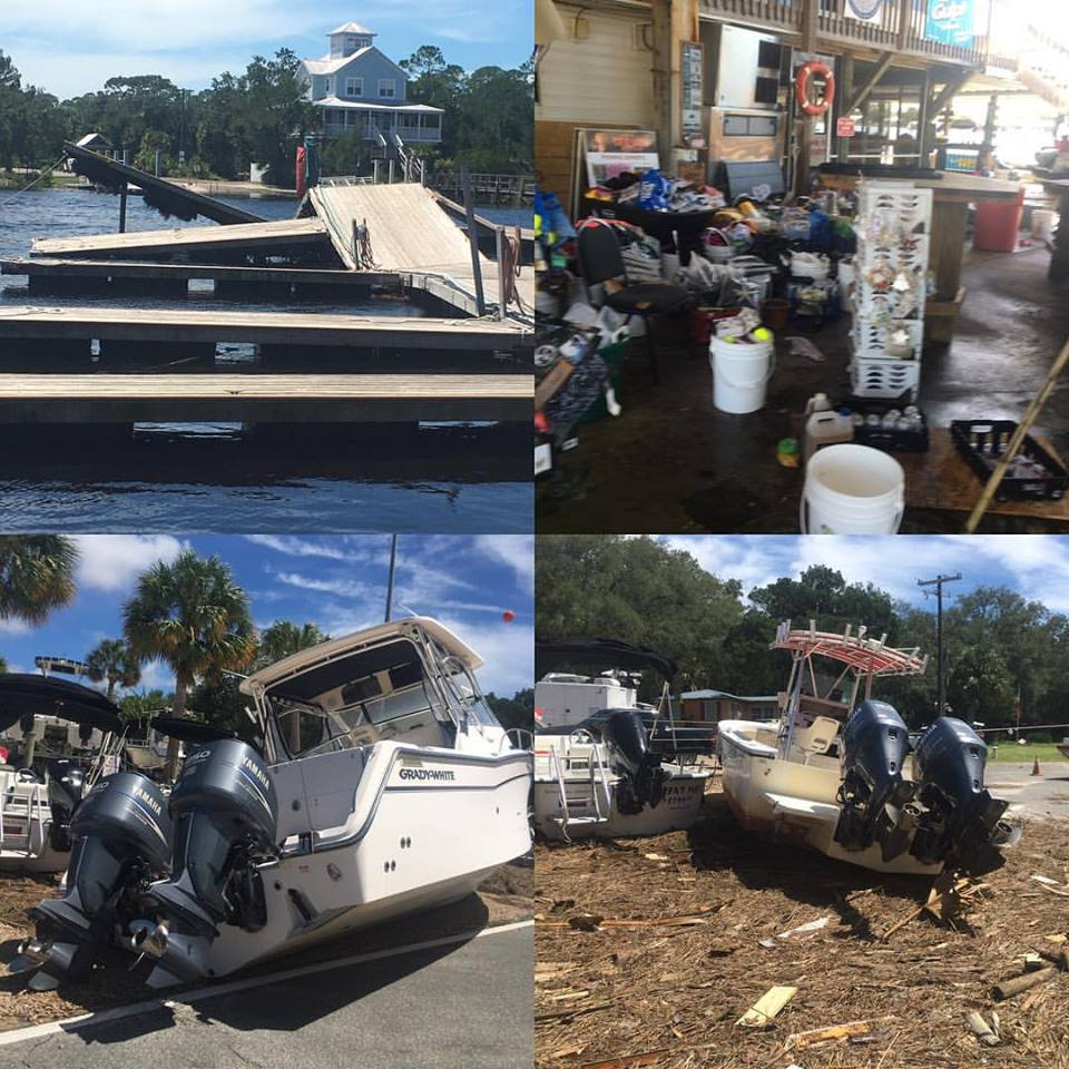 Other University of FLorida researchers were also impacted.  This is damage to Daryl Parkyn's research vessel's in Steinhatchee, FL. (Daryl Parkyn)